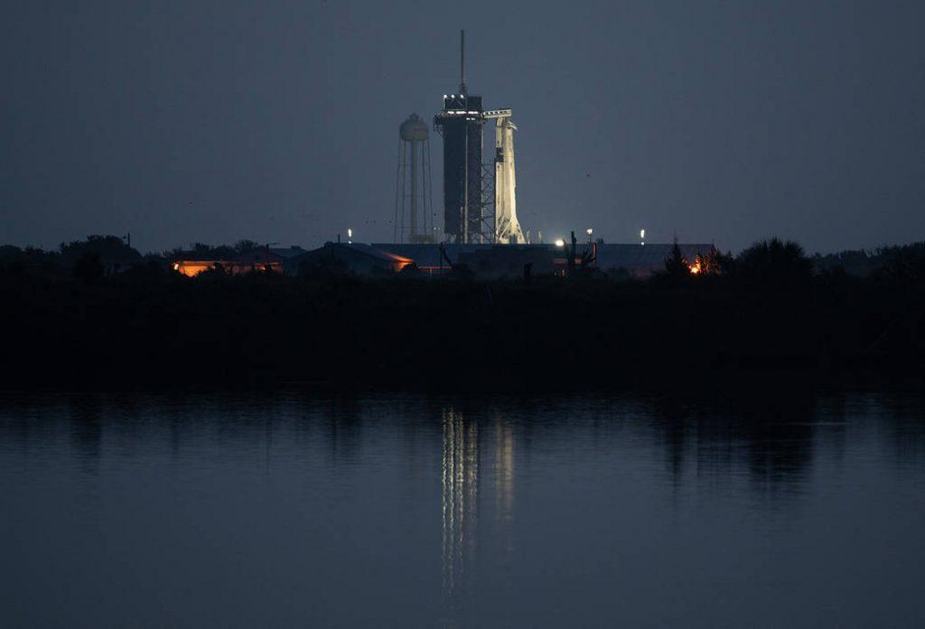 Dragon capsule on launch pad