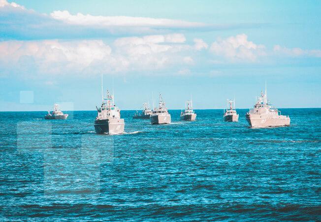 Naval ships at sea