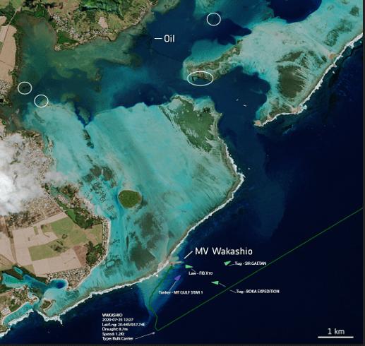 Mauritius Wakashio Satellite Image
