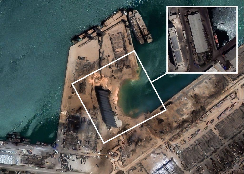 Post event satellite image of Beirut port